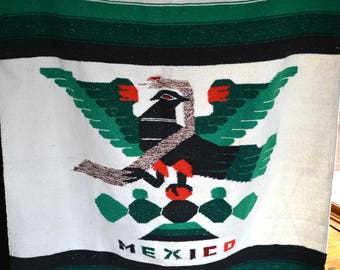 Vintage Large Thick Heavy Mexican Blanket // BOHO Bohemian Festival Beach Blanket // Ethnic Tribal MEXICO Bird with Snake Mexican Blanket