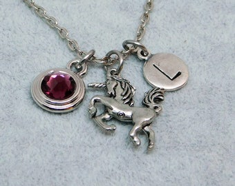 Silver Unicorn necklace, swarovski birthstone, initial necklace, birthstone necklace