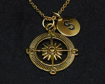 Golden Compass with Initial necklace, initial charm, personalized jewelry, compass necklace, compass pendant, compass  charm