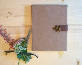 Journal Sketchbook Camel Suede with Brown Leather Strap and Metal Clasp