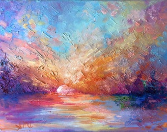 "Abstract Sunset Painting Impressionism Colorful Oil Painting Original Artwork 9""X12"""