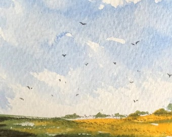 Landscape ORIGINAL Miniature Watercolour 'Across the Cornfield' ACEO Corn Fields For him For her,Home Decor Wall Art Gift Idea Free Shipping