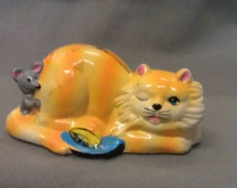 Meow 1984 Yellow and Orange Cat Bank with Mouse Cat Bank