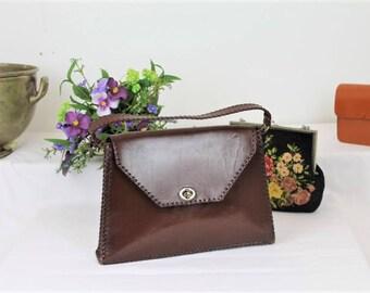Vintage Leather Handbag/1940's Leather Handbag/Brown Leather Bag/1940's Rennactment (Ref1984Q)