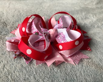Pink Christmas Themed Hair Bow