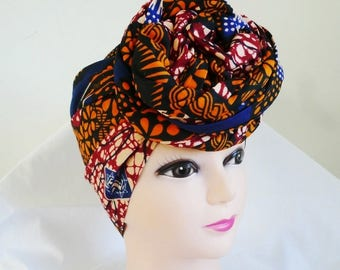 Orange and Navy Ankara Head wrap, DIY head tie, Stylish African head scarf, Fabric hair accessory – Made to Order