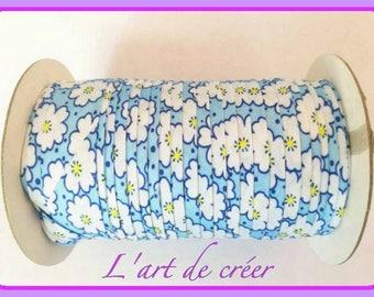 1 m de Ruban Biais Liberty coton,  20 mm, Fleur , Bleu , Blanc