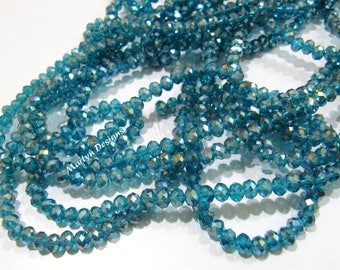 SALE- Blue Topaz Color Hydro Quartz 4mm Beads , Mystic AB Coated Rondelle Faceted Beads , approx. 150 Beads per Strand , Jewelry Beads