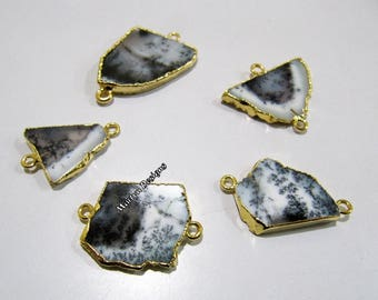 SALE- Natural Dendrite Opal Slice Connector Free Form , Charm Pendant With 24 kt Gold Electroplated Edge , Double Loop 1 inch approximately.
