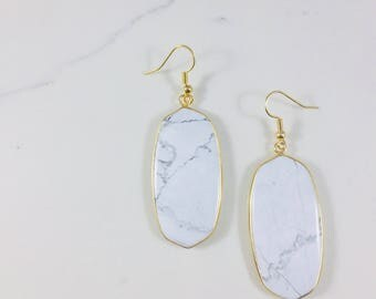 White howlite earrings // Fast and free shipping