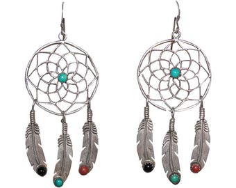 Runway Sterling Silver Dream Catcher Earrings