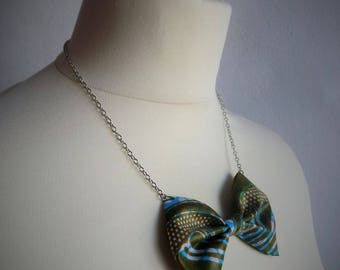 Chain knot necklace green African fabric