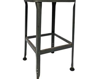 Vintage INDUSTRIAL STOOL steel metal chair seat steampunk factory machine age loft gray masonite seating bar retro adjustable drafting LYON