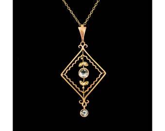 Antique pendant etsy antique aquamarine lavaliere pendant 9ct gold antique pendants vintage necklaces collectable jewelry aloadofball Image collections