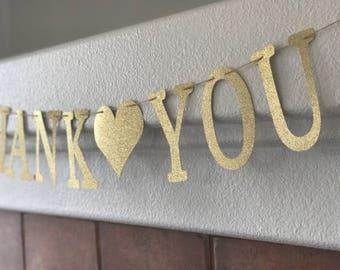 Thank You Glitter Banner- Wedding Reception Decoration- Birthday Party Decoration- Sparkly Wedding Decoration