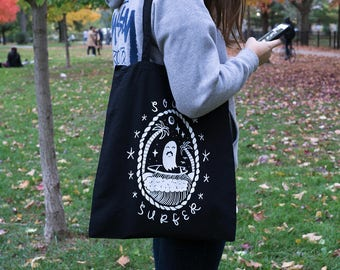Ghost Tote Bag, Soul Surfer Tote Bag, Black Tote Bag, Gifts For Him