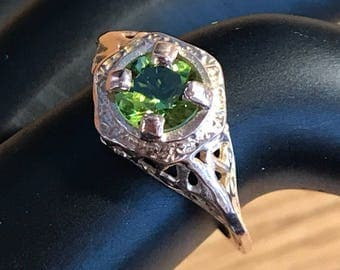 14k Rose Gold Filigree Ring with 1ct Flawless Peridot stone size 6.5