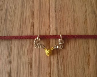 """Harry Potter Golden Snitch pendant choker - maroon faux suede cord - 12-15"""""""