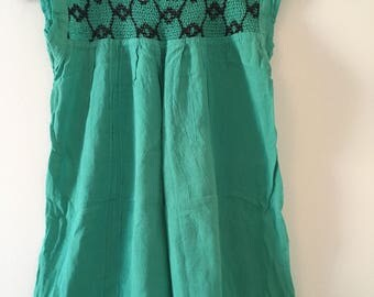 Traditional Mexican  aqua with detail Blouse of Manta