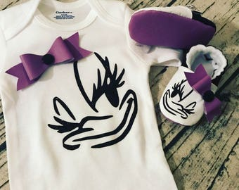 Daisy Duck Snap-on Bow matching set onesie shirt shoes