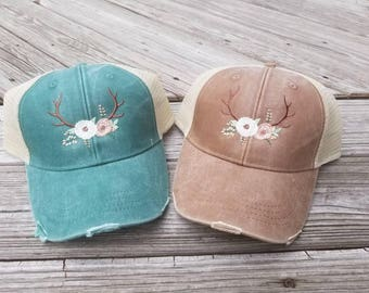 Antler Hat, Antler Cap, Deer Hat, Deer Cap, Country Trucker Hat, Monogrammed Country Cap, Monogrammed Antler Cap, Personalized Antler Cap