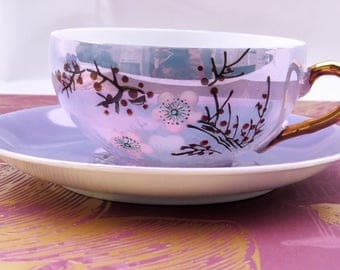 Blossom Tea Set. Set of six cups & saucers. Chinese in origin