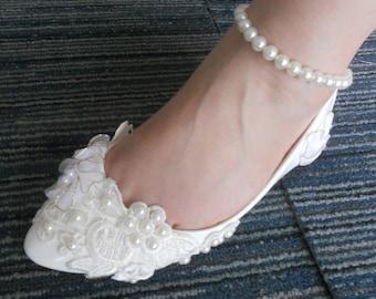New Promotion White Lace Pearls Bandage Women Wedding Shoes Flat Heel Sexy Bridal Shoes Size 34-44