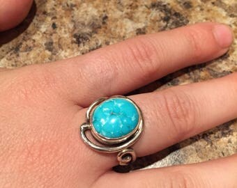 Sleeping beauty turquoise, turquoise ring, silver ring Art nouveau
