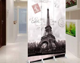 Room Divider Paravent Folding Screen Paris Eiffeltower 3 Panel (180x120cm) Furniture Home Decor Printed Canvas Two-Sided Fordable Screen