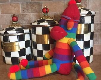 Rainbow sock monkey!