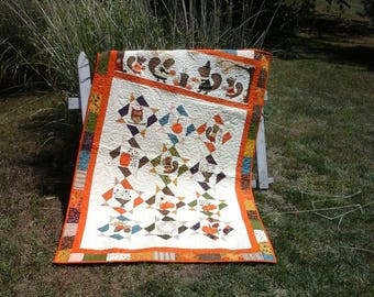 Fall Quilt Autumn Bedding Thanksgiving Decoration  Woodland Animals Quilted Holiday Decor Quilts For Sale Orange Seasonal Fabric Harvest