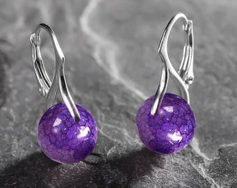 925 Sterling Silver Leverback Earrings Craced Iced Agate Purple 10 mm Natural Gemstone