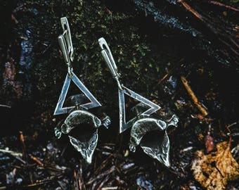 Bone totem: silver vertebrae earrings