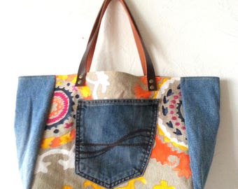 Jeans and cotton tote bag