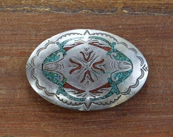 Vintage Navajo Turquoise And Coral Chip Inlay Nickel Belt Buckle