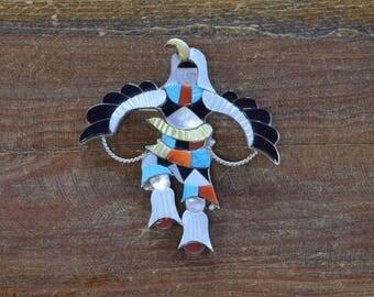 Vintage Zuni Knifewing Kachina Multi-Stone Inlay Sterling Silver Pin/Pendant