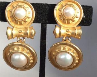 Erwin Pearl Gold Tone Etruscan Style Clip Earrings