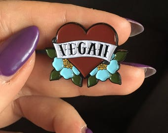 Vegan Tattoo Heart Enamel Pin