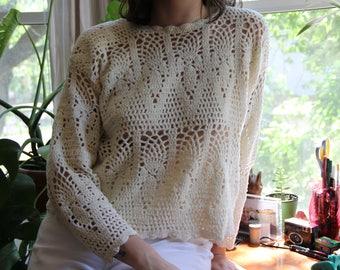 Cropped Off-White Velvet Crochet Top
