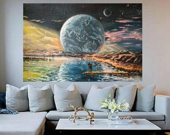 Space painting art commission painting from photo Night sky painting Custom oil painting Galaxy painting fantastic planet art Romantic gifts