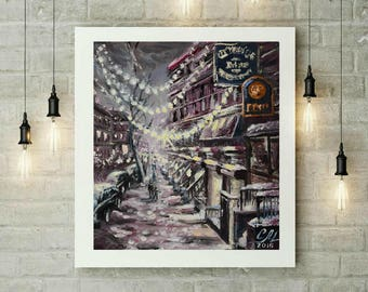Abstract art print of Abstract painting NY giclee print canvas NYC print New York print Urban room decor Christmas decoration Christmas gift
