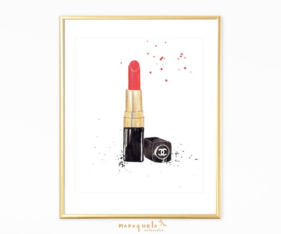 RED LIPSTICK Chanel watercolor. Bedroom decor, art wall Makeup corner decor, red lipstick, Modern art wall. Fashion girl Room, gift woman