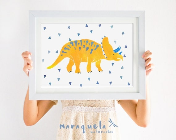 DINOSAUR II, illustration for kids and baby. Orange and Blue hues.