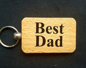 Wooden Keyring Key ring - BEST DAD - Birthday Gifts Father's day - New Dad Wooden gifts