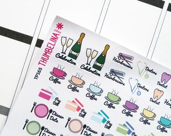 Icons With Writing Planner Stickers for Erin Condren, Folifax, Happy Planner and more (TP165)