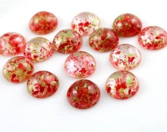 10pcs, 12mm Natural Flower Cabochons - Made With Real Flowers - Floral Cabochon Flat Bezel Bezels DIY Jewelry Supply Jewellery Supplies