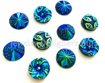 20pcs - 12mm Assorted Colors Cabochon Pack - Iridescent Metallic Resin Cabochons - Multi Colour Round 3D Jewelry Supplies DIY Earrings