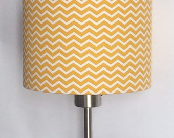 Lampshade cylindrical Ø 20 cm Chevron yellow and white