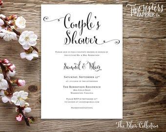 Script Couple's Shower Invitation - BLAIR Collection - Simple Script Couple's Shower - Rustic Couple's Shower - Elegant Couple's Shower