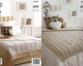 King Cole Knitting Pattern 4145~Two Cabled Throws~Aran